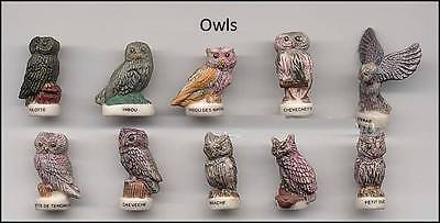 Amazing Miniature Porcelain Beautiful Owl Figurines Collection Set *mint*
