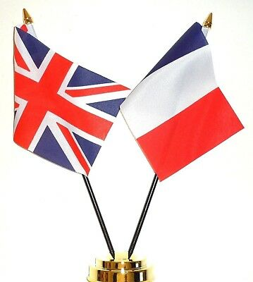 United Kingdom & France Double Friendship Table Flag Set