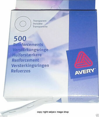 Avery Clear Reinforcement Rings, Vinyl, 500 Pack No.43-409 Transparent Invisible