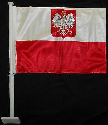 Polish Car Flag Poland Knitted Double Sided Polska Brand New Old Eagle