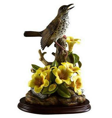 ANDREA BY SADEK WOOD THRUSH W/RHODODENDRON BIRD SWEET