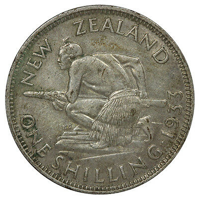 New Zealand 1933 Shilling Coin EF