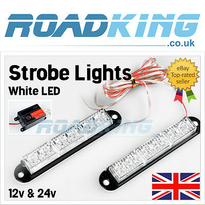 LED Strobe Light | 3 Function | 2x 6 LED White 12v & 24v Car Van Truck Lights