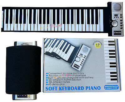 Portable Flexible Roll Up Electronic Piano 49 Keys Soft Keyboard MIDI AC Adapter