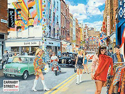 Carnaby Street, 1960's London City Retro British Cars Mods, Small Metal Tin Sign