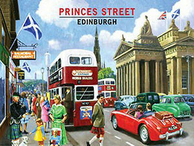 Princes Street, 1960's Edinburgh City Retro Scottish Bus, Small Metal Tin Sign