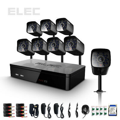 ELEC® 8CH Channel Network DVR HDMI Outdoor CCTV Home Security Cameras System 1TB