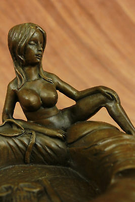 Vintage European  Art Deco Ashtray Stand Bronze Figural Statue Nude Naked Nymph
