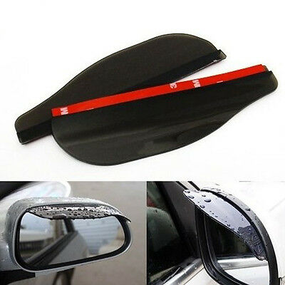 2 x  Black Flexible Car Rear View Mirror Anti Rain Guard Shade Auto Weatherstrip