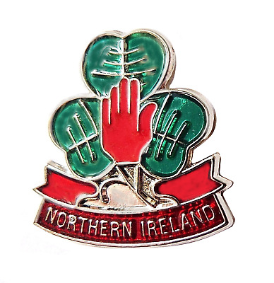 Northern Ireland Shamrock and Red Hand Flag Pin Badge - T122