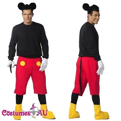 Mens Disney Mickey Mouse Costume Halloween Fancy Dress Adult Outfits