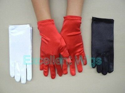 Women Lady Girl Short White Red Black Color Satin Gloves Formal Wedding Fancy