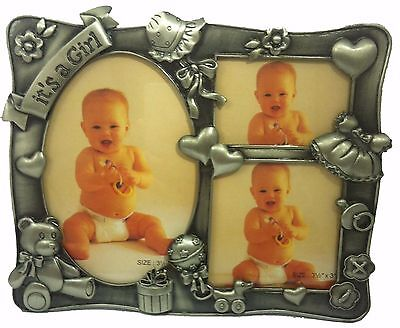 Baby Girl Pewter Photo Frame - Free Name Engraved New Born Gift Set For Mothers