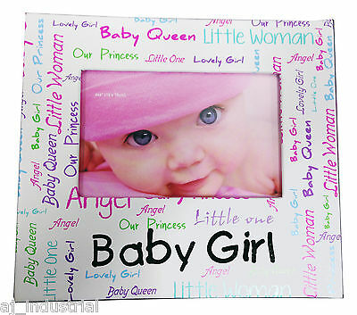 Baby Girl Photo Frame Blue New Born Word Collage Birth Christening Shower Gift