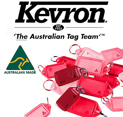 KEVRON CLICK KEY TAGS - RED - BULK PACK x 50 - PLASTIC LABELS - HOME OFFICE
