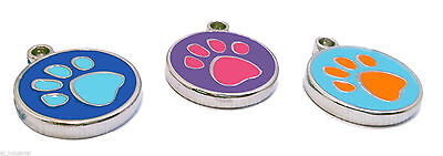 ROUND PAW PRINT DOG / CAT  PET TAG ID DISC - FREE ENGRAVING  (2  Colours left )