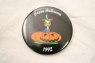Vintage 3'' Happy Halloween 1992 Donald Duck Pumpkin Disney Pinback Button F3