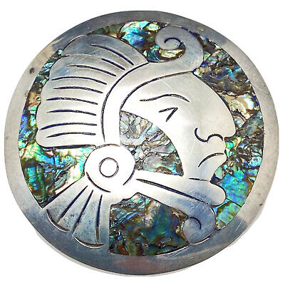 c.1960 Taxco Mexico Sterling Silver & Abalone Mayan God Head Pin/ Pendant