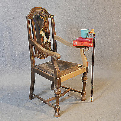 Antique Armchair English Oak & Leather Carver Quality Large Chair c1850