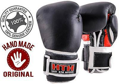 Real Leather Black Boxing Gloves Fight Punch Bag MMA Muay thai Gloves Pad Gloves