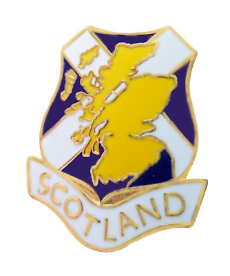 Scotland Scottish Shield Flag with Country Map Pin Badge - T935