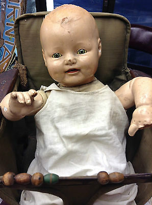 1920's Composition Baby Doll With Vintage Carseat & Closing Eyes