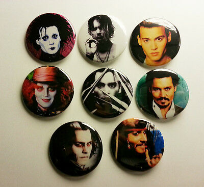 8 piece lot of Johnny Depp pins buttons badges