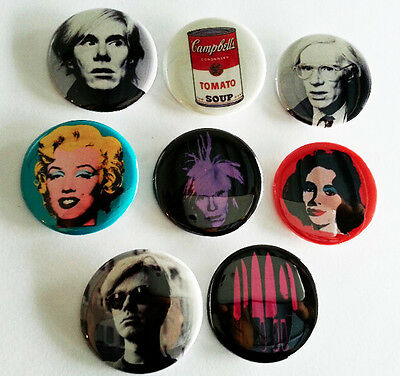 8 piece lot of Andy Warhol pins buttons badges