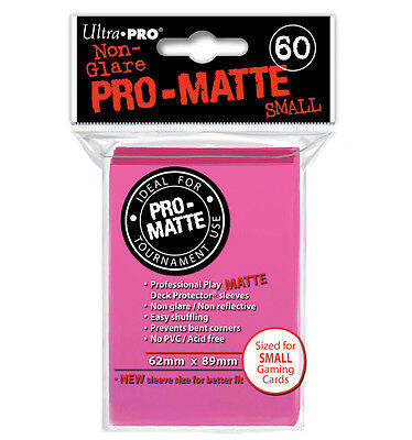 Ultra Pro Deck Protector Sleeves x60 - Pro Matte Non-Glare - Small - Bright Pink