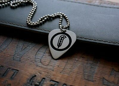 Hand Made Etched Nickel Silver Guitar Pick Necklace - Robert Plant