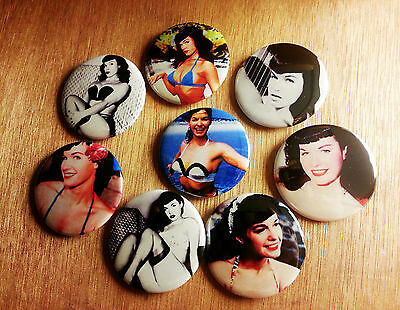 8 piece lot of Bettie Page pins buttons badges