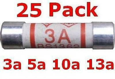 100 X PLUG Top Fuses in either 3A, 5A, 10A or 13A Domestic