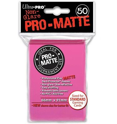 Ultra Pro Deck Protector Sleeves x50 - Pro Matte Non-Glare - Bright Pink