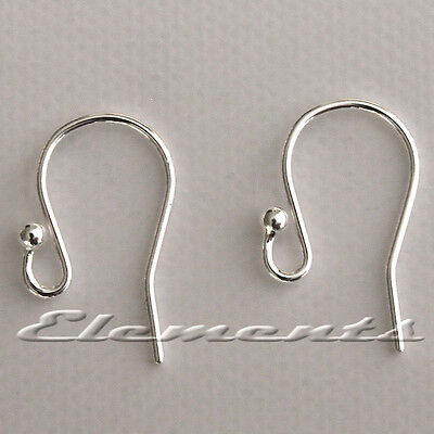 Solid Sterling 925 Silver Earring Ear Hook Wires Fish Hooks French Fittings