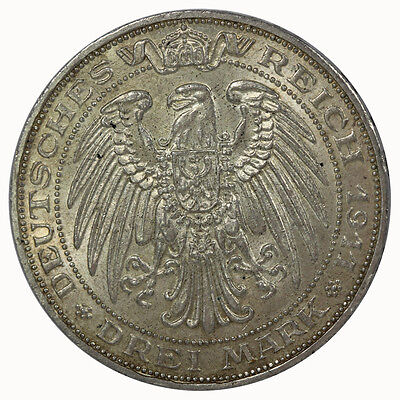 Prussia 1911 A 3 Mark Coin UNC