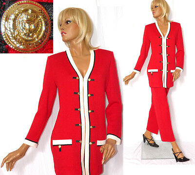 ST JOHN COLLECTION (2PC) Red Santana Knit Jacket & Pant Suit; Made in USA Sz 4