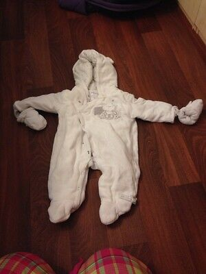 Babaluno Pramsuit Snowsuit 0-3 Months White Silver Boy Or Girl Unisex Hat