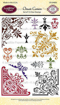 Spellbinders JUSTRITE CLEAR Stamps ORNATE CORNERS CR-04805 13 Stamps