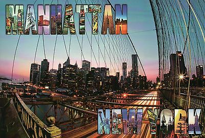 Manhattan from the Brooklyn Bridge, New York City, NY, Suspension Br. - Postcard