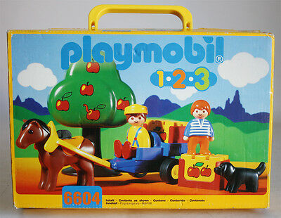Very Rare Vintage 1996 Playmobil 1 2 3 Case 6604 Apple Orchard Horse New Mib !