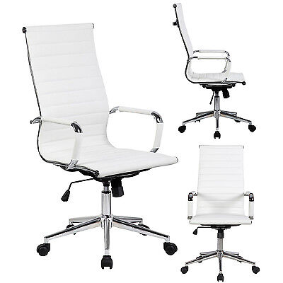 Tall Executive White PU Leather Ribbed Office Desk Chair High Back Contemporary