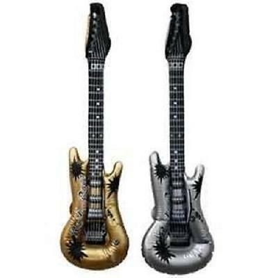"12 INFLATABLE GUITARS SILVER AND GOLD 42"" Party Favor Rock #AA73 Free Shipping"