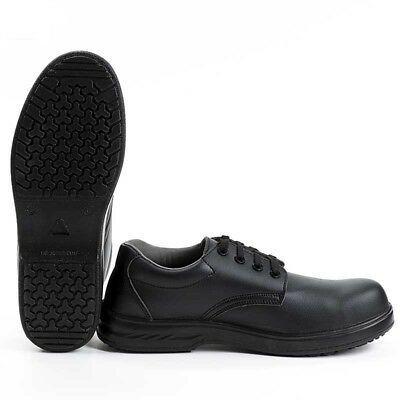 Food Industry Work Shoes Chef's Catering Hospital Black Anti Slip Lace Up  FW80