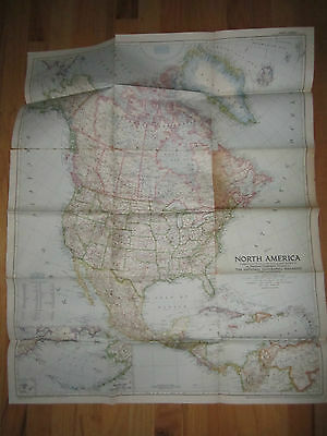 """1952 North America Map - National Geographic - 28"""" X 33"""" - Rh-5"""
