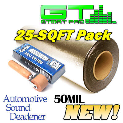 NEW GTmat Pro Genuine Dynamat Roller & 25sqft 50mil Discount Sound Deadener