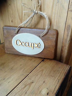 French Vintage Style Wooden Door Hanger with word on each side .