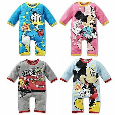 New Baby Boys Girls Disney Long Sleeves Romper One Piece Romper Size 00,0,1,2