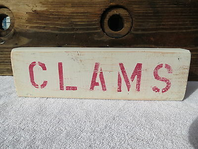 12 Inch Wood Hand Painted Clams Sign Nautical Seafood (#s341)
