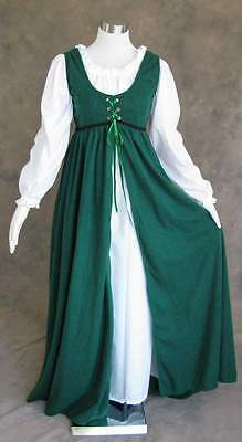 Renaissance Ren Faire Medieval Gown Dress and Chemise LOTR SCA Costume GREEN 4X