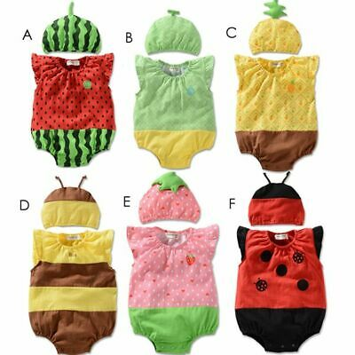 NEW Baby Boy Girl 2 Piece Fruits Costume Clothes Romper Outfit Set Size 00,0,1,2